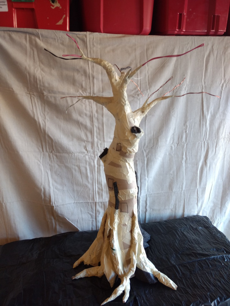 fairy house tree form from cardboard and tape