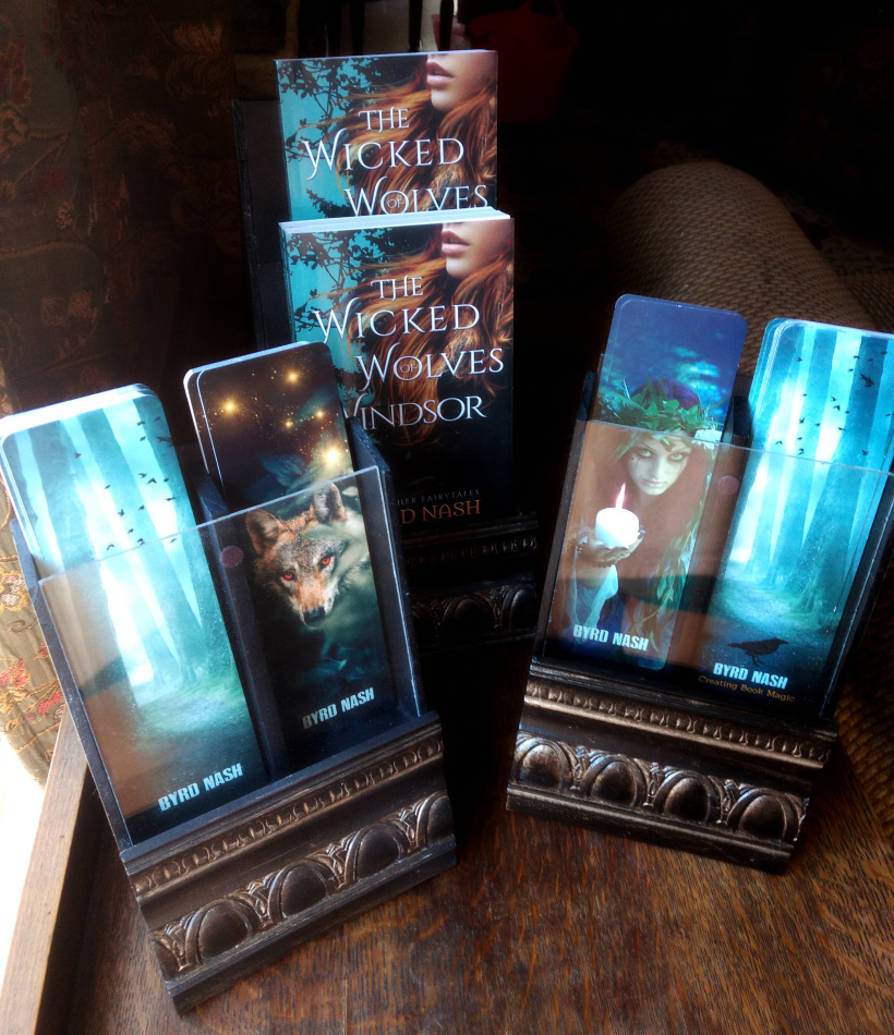 Author signing book and bookmark display