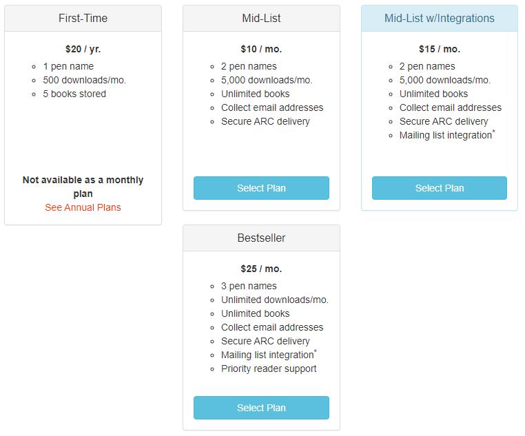BookFunnel plan comparison