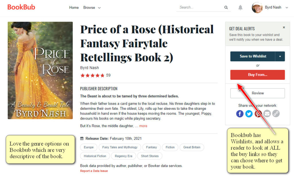 Bookbub book listing